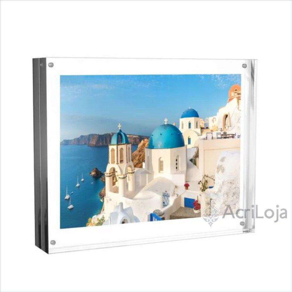 Porta Retrato de Mesa em Acrílico com imãs Tamanho 20x15cm, Quadro para Fotos, Diploma e Certificados