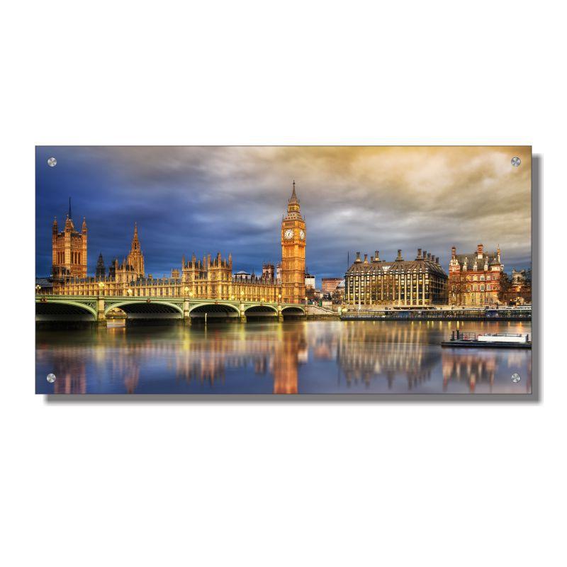 Quadro de Parede em Acrílico Cidade de Londres Big Ben Palácio de Westminster, Quadro Decorativo Para Salas e Quartos