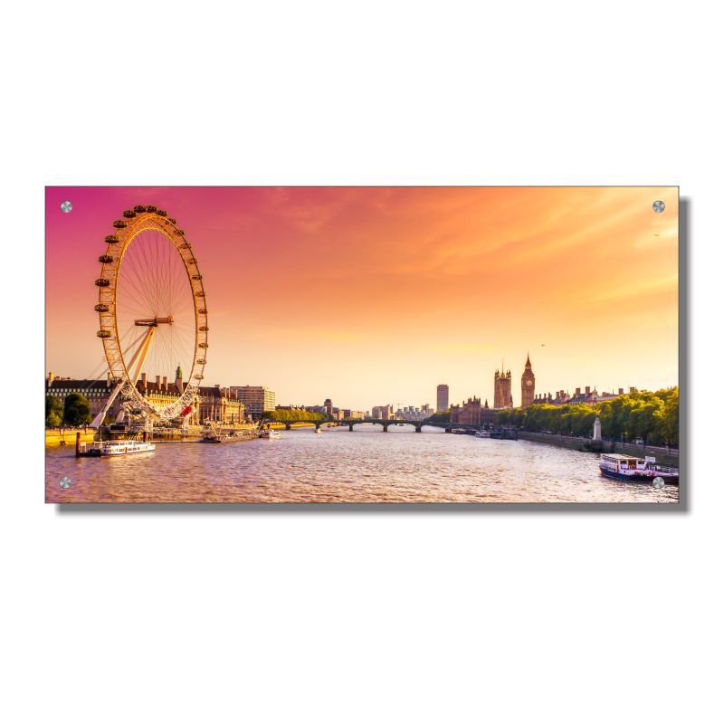 Quadro de Parede em Acrílico Cidade de Londres London Eye, Quadro Decorativo Para Salas e Quartos