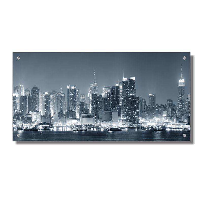 Quadro de Parede em Acrílico Cidade Nova York Vista Noturna, Quadro Decorativo Para Salas e Quartos