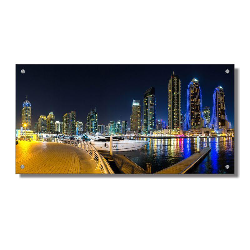 Quadro de Parede em Acrílico Porto de Dubai, Quadro Decorativo Para Salas e Quartos