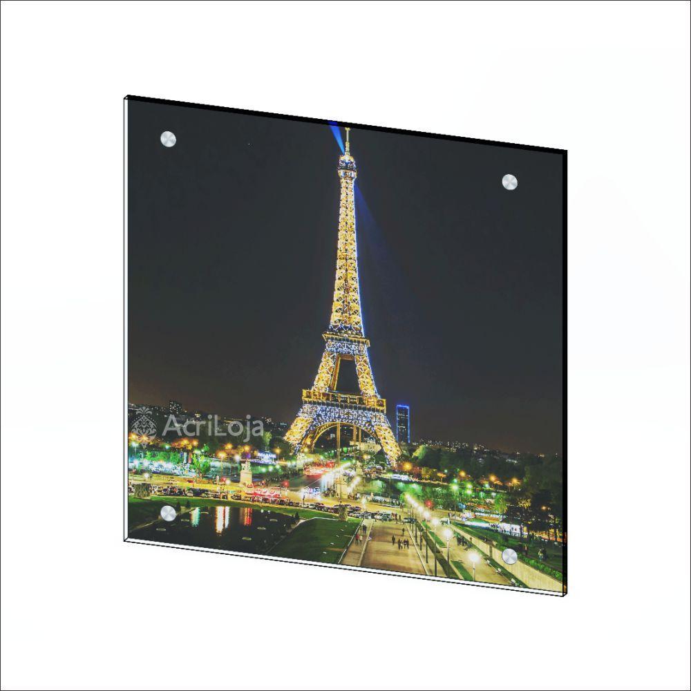 Quadro de Parede em Acrílico Tamanho 80x80cm Torre Eiffel Paris França, Quadro Decorativo Para Salas e Quartos