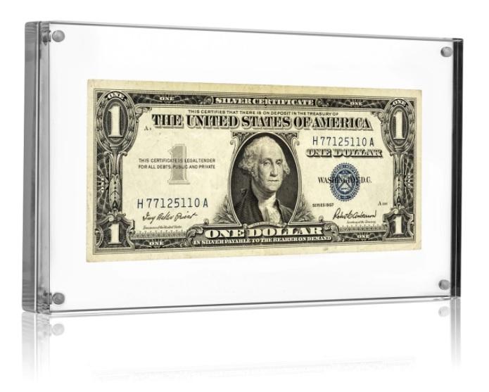 Quadro Expositor de Acrilico com Imã Para Notas de Dinheiro Raras Para Colecionadores