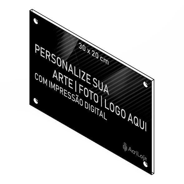 Placa, Quadro, Fachada de Acrilico Personalizada 30x20cm, Para Lojas, Empresas, Casas e Condomínios