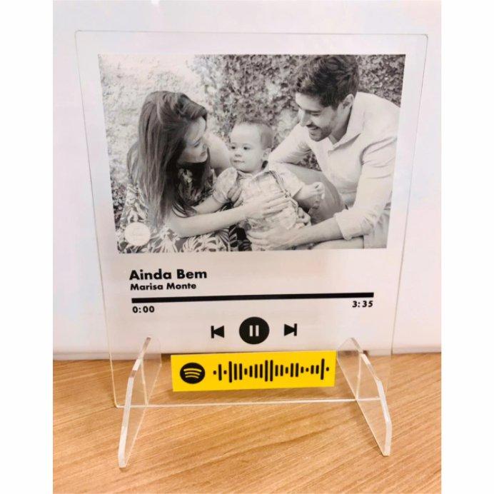 Quadro, Placa, Porta Retrato Personalizado Spotify em Acrilico 17x21cm
