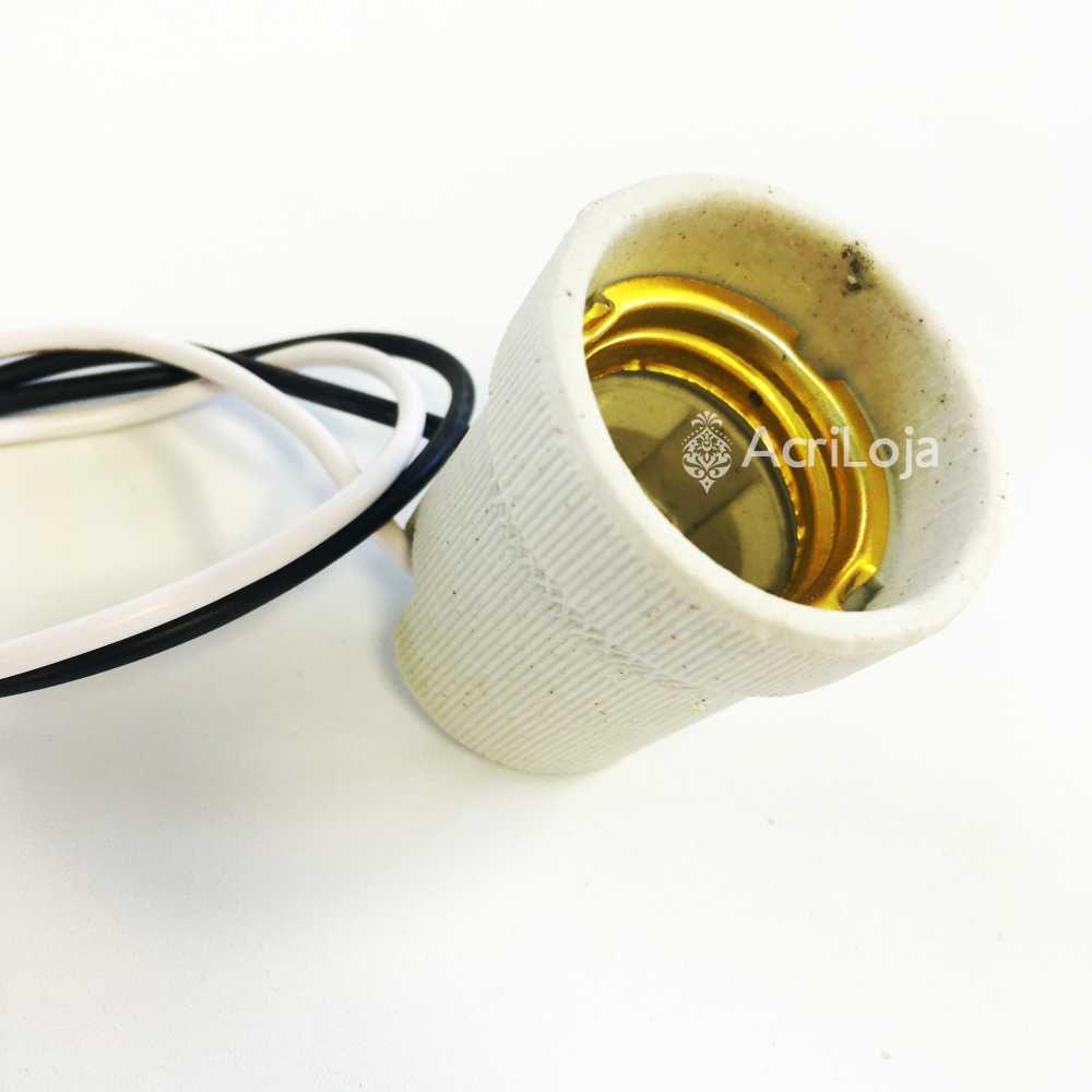 Soquete E27 de Porcelana Com Fiação, Kit 100 unidades de Bocal E-27 para luminárias