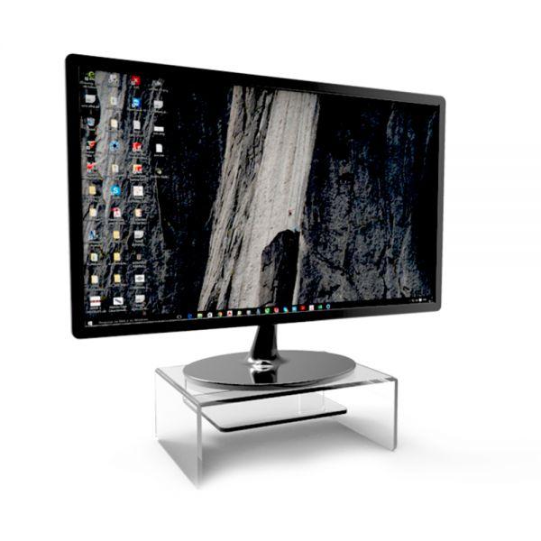 Suporte de Mesa Para Tela de Computador e Notebook Com Prateleira em Acrílico Transparente 22x12x22cm