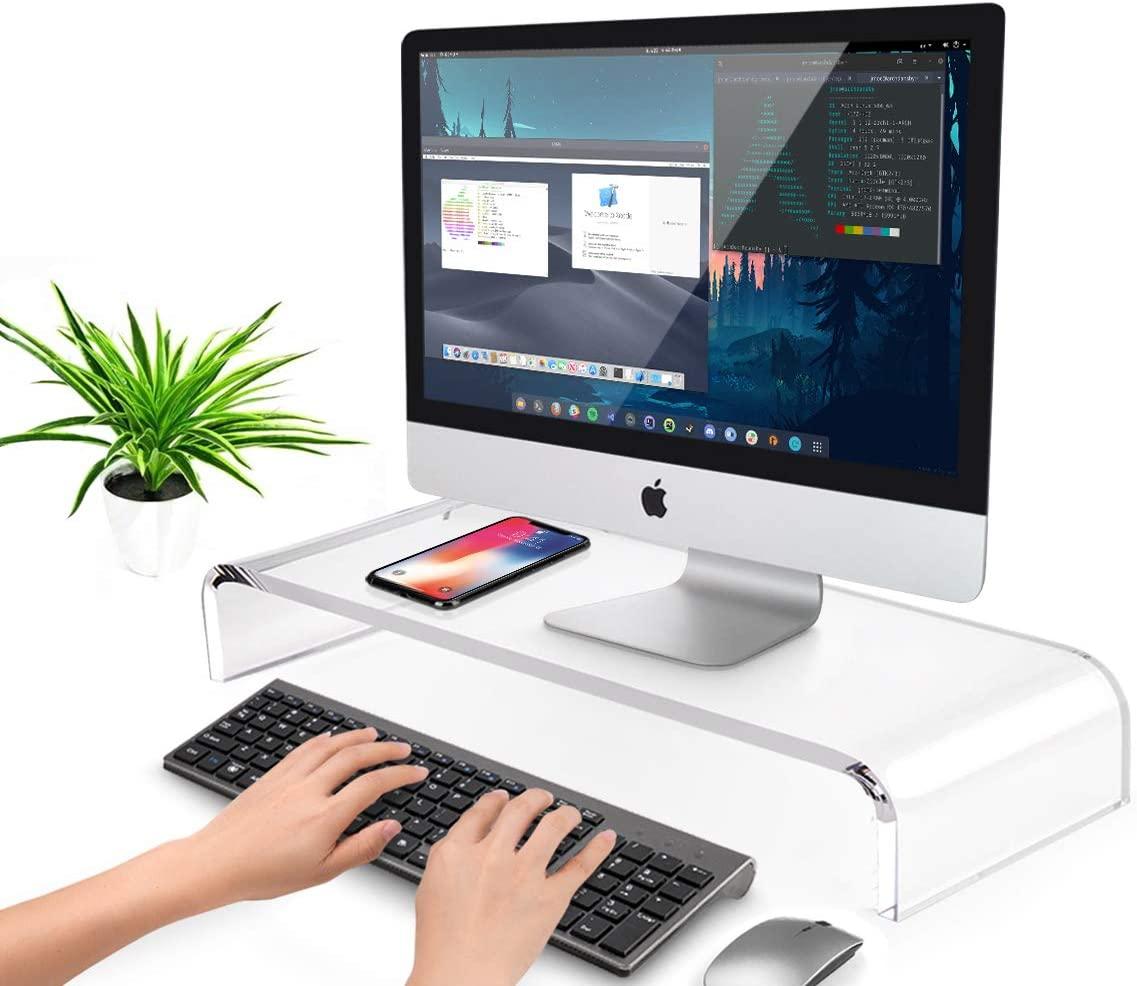 Suporte de Mesa Para Tela de Computador e Notebook em Acrílico Transparente 50x10x20cm