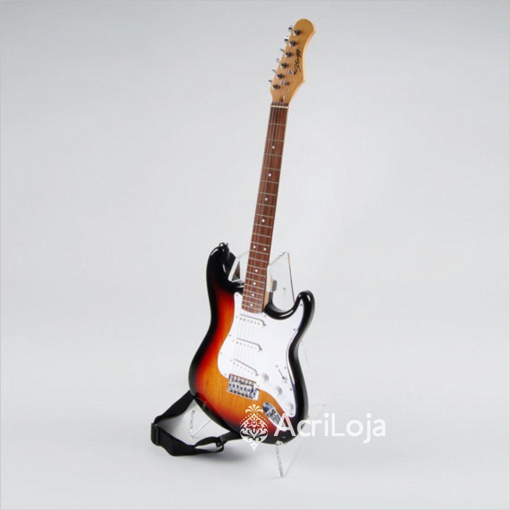 Suporte Guitarra de Chão de Acrílico Para Loja, Casa e Estúdio
