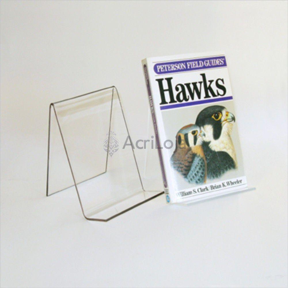 Suporte para livro em acrílico, Display de mesa para livros, modelo 01