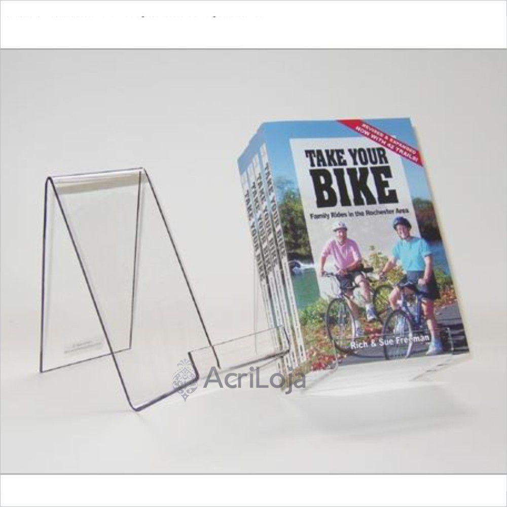 Suporte para livro em acrílico, Display de mesa para livros, modelo 03
