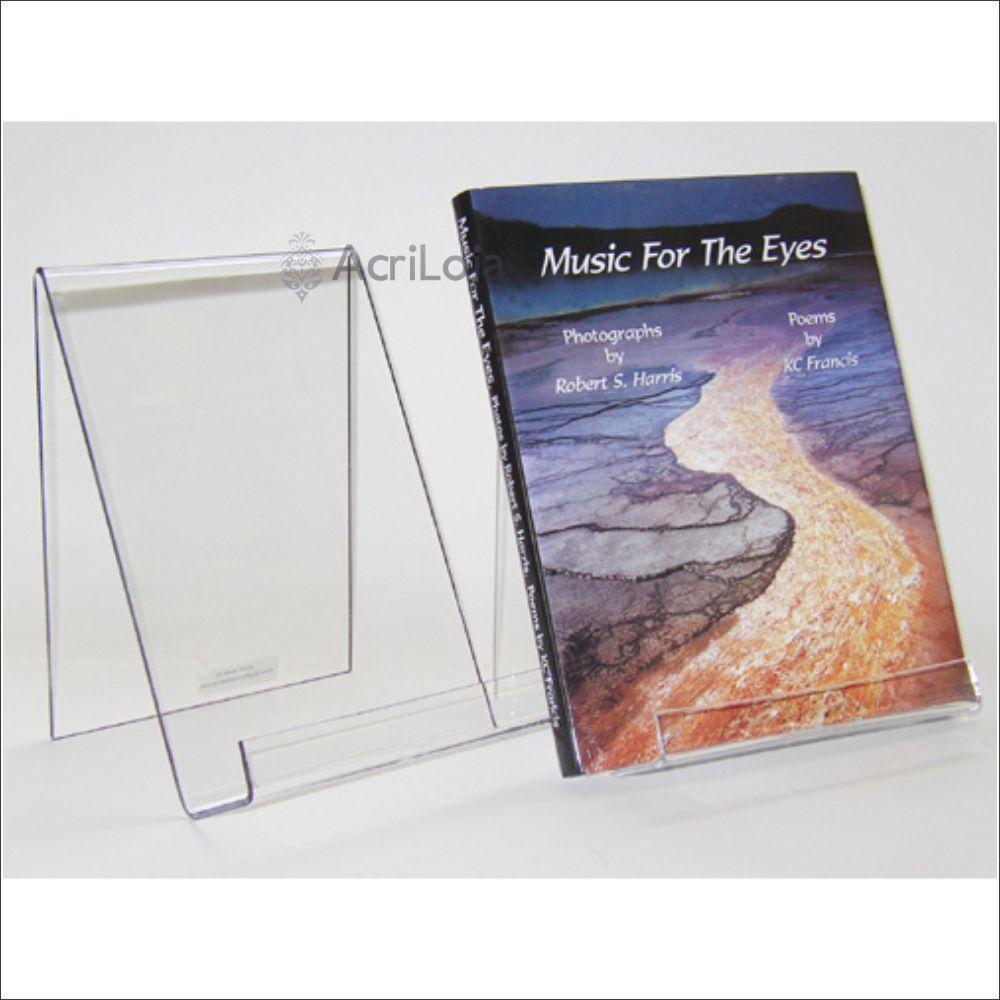 Suporte para livro em acrílico, Display de mesa para livros, modelo 06