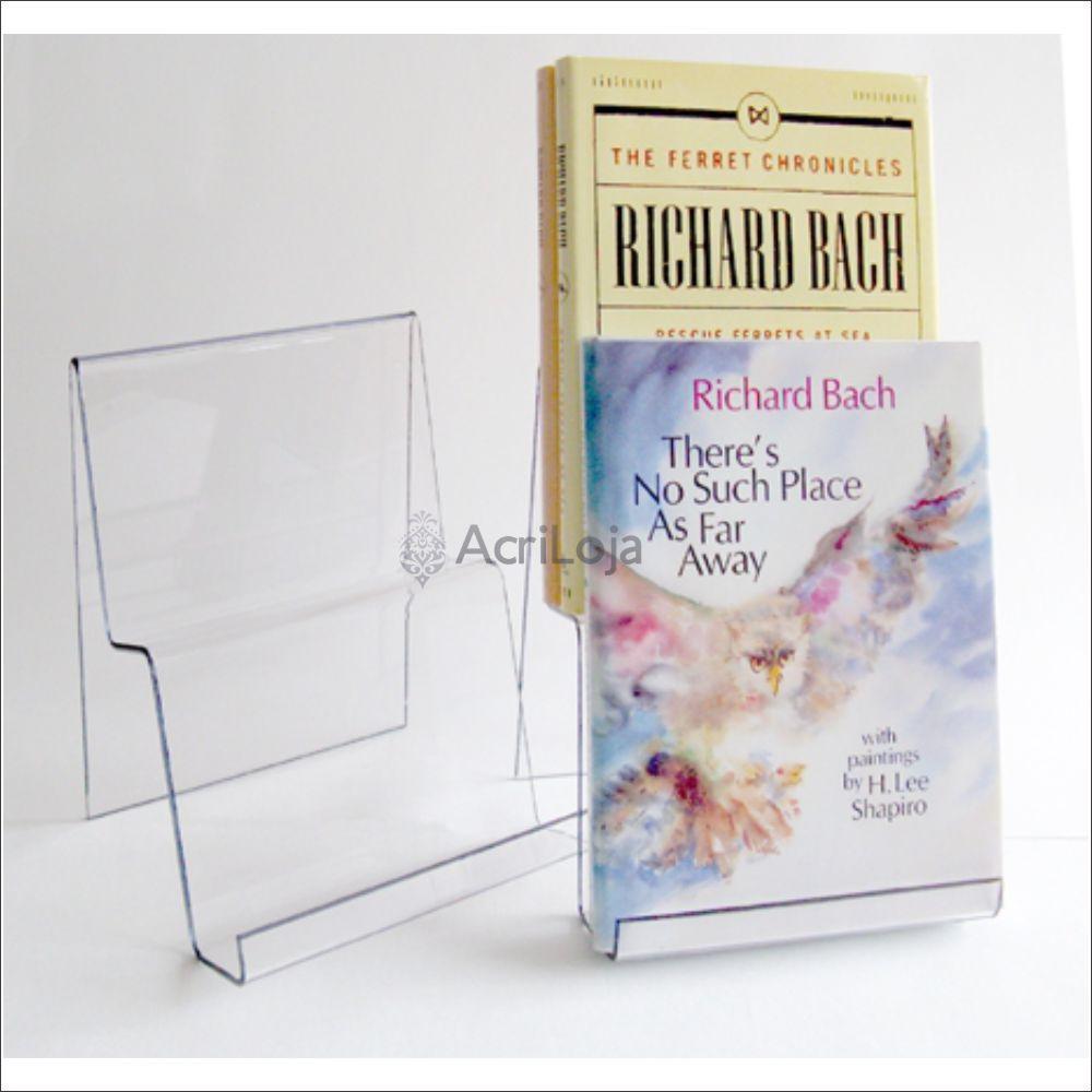 Suporte para livro em acrílico, Display de mesa para livros, modelo 08