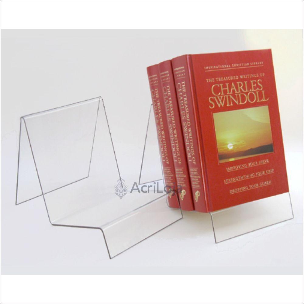Suporte para livro em acrílico, Display de mesa para livros, modelo 12