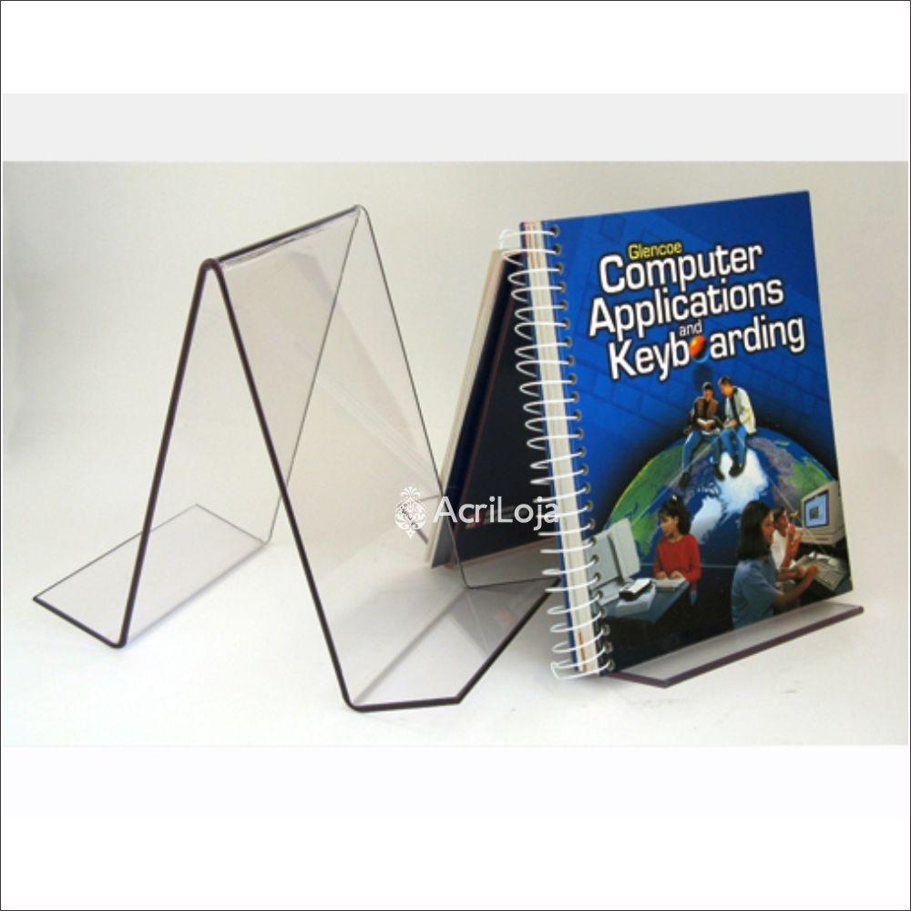 Suporte para livro em acrílico, Display de mesa para livros, modelo 13