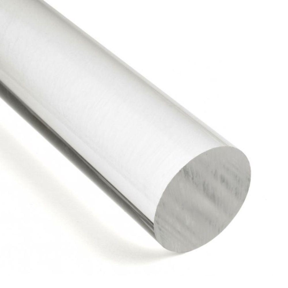 Tarugo de Acrilico Cristal Transparente - Diâmetro 80mm - Comprimento 2 metros