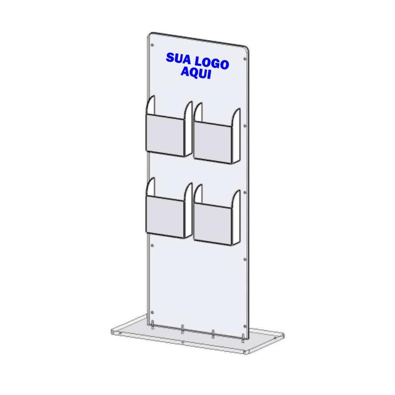 Totem de Acrilico Personalizado Com Porta Folder 1.20m - Para Entrada de Lojas e Consultórios