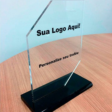 Troféu de Acrilico Personalizado com Gravação Para Premiações em Eventos, Modelo 1