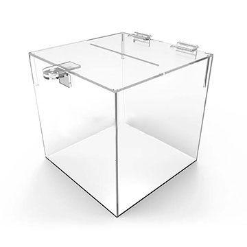 Urna de Acrilico Transparente Quadrada Tamanho 25x25