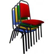 AF 5005 - Cadeira fixa para convenção, empilhável, palito, sem braços, encosto médio