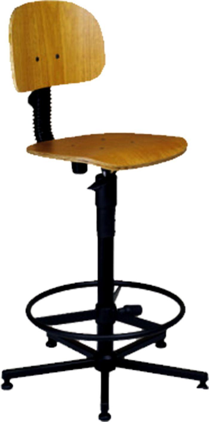 AF 110 - Cadeira giratória sem braços, industrial (de madeira), encosto baixo