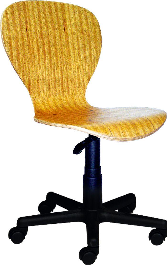 AF 12099 - Cadeira giratória secretária sem braços com concha monobloco de madeira, encosto médio