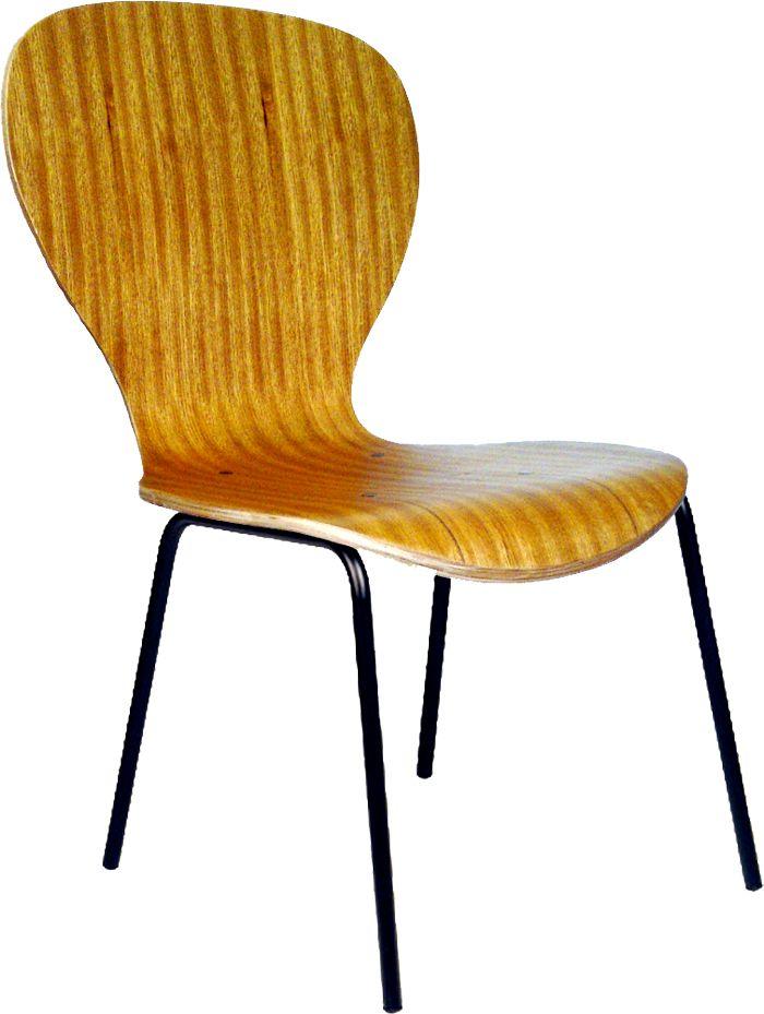 AF 12099-FX - Cadeira fixa sem braços com concha monobloco de madeira, encosto médio