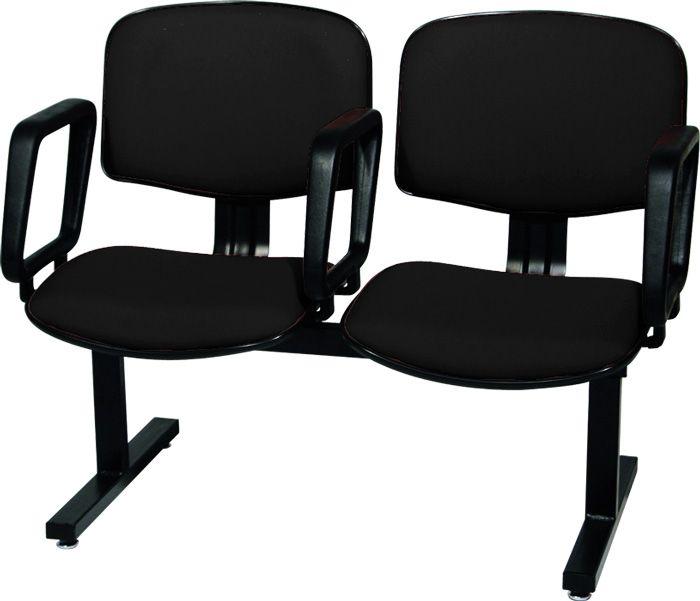 AF 5004-L - Cadeira fixa em longarina, com braços, encosto médio (preço POR LUGAR)