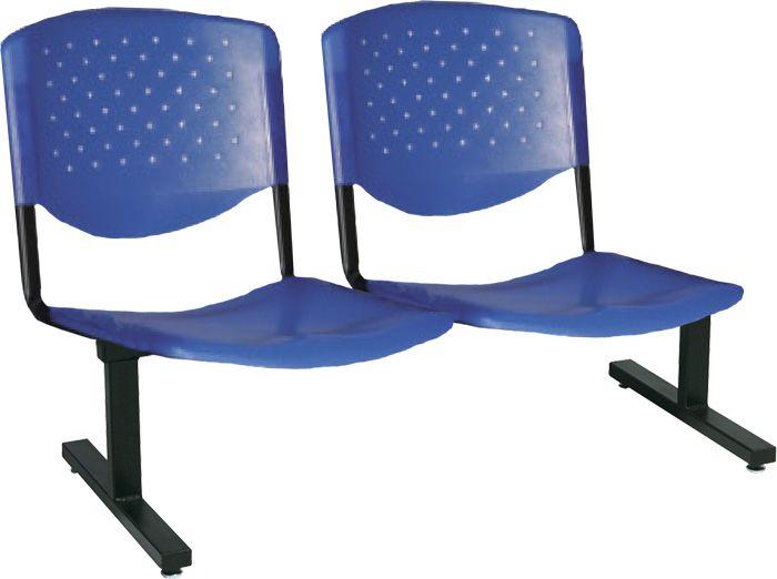 AF 5004-L-PL - Cadeira fixa de Plástico em longarina, sem braços, encosto médio (preço POR LUGAR)