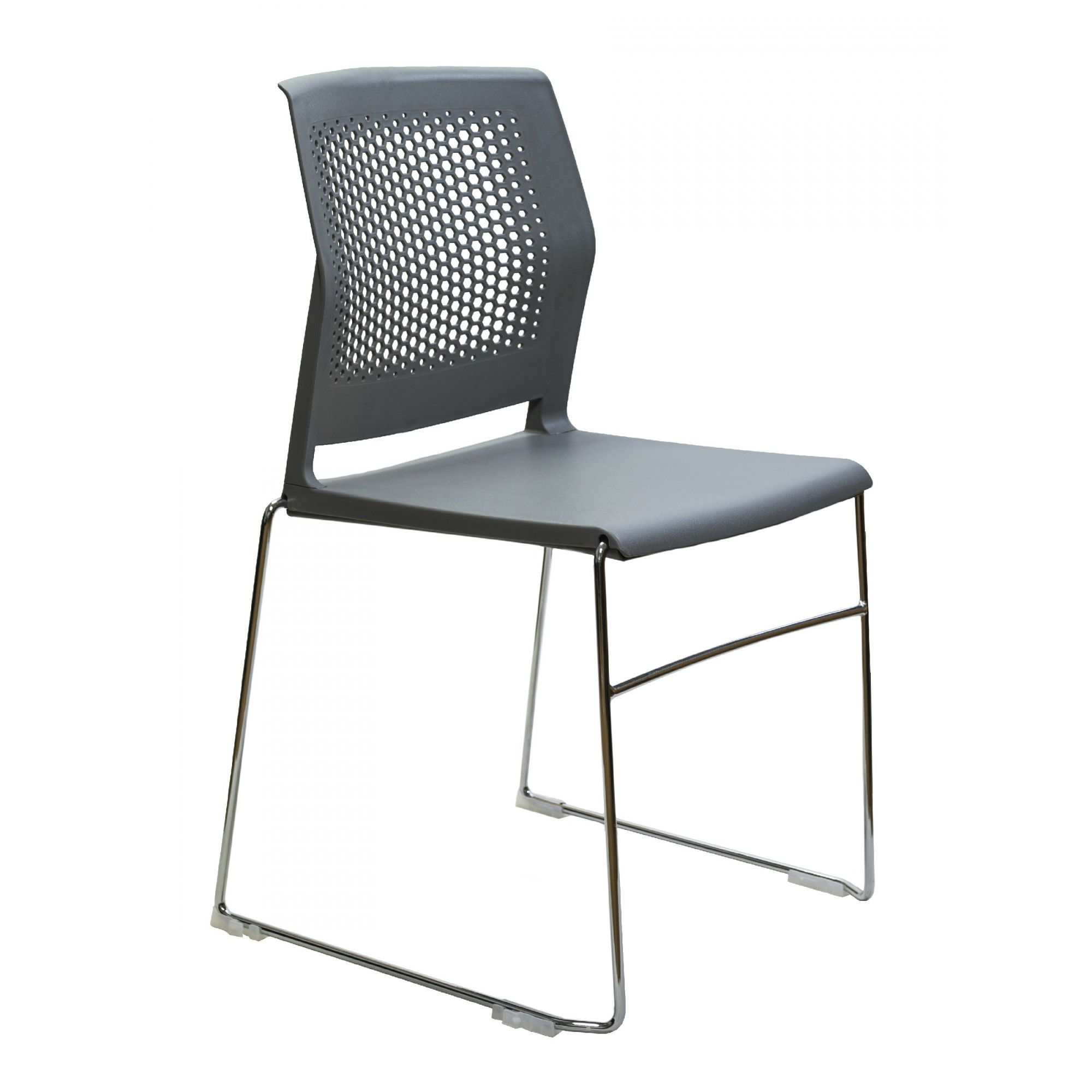 AF 7005-PL - Cadeira fixa, empilhável, trapezoidal, sem braços, encosto médio, com PÉS PRETOS