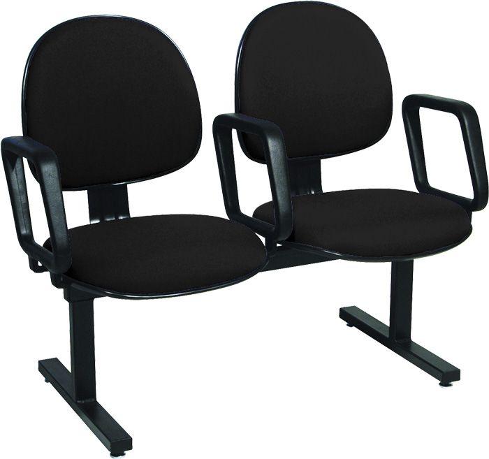 AF 8006-L - Cadeira fixa em longarina, com braços, encosto médio (preço POR LUGAR)