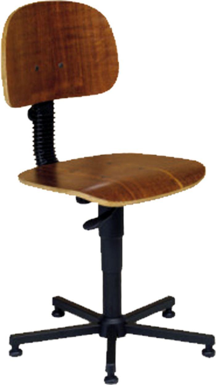 AF 85 - Cadeira giratória sem braços, industrial (de madeira), encosto baixo