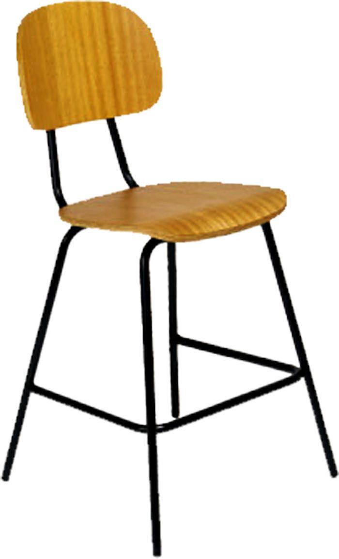 AF 90 - Cadeira fixa sem braços, industrial (de madeira), encosto baixo