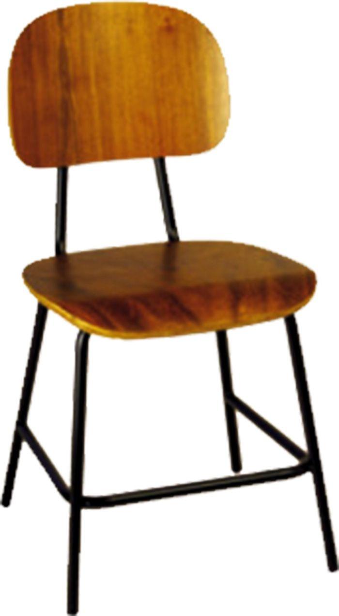 AF 99-M - Cadeira fixa sem braços, industrial (de madeira), encosto baixo