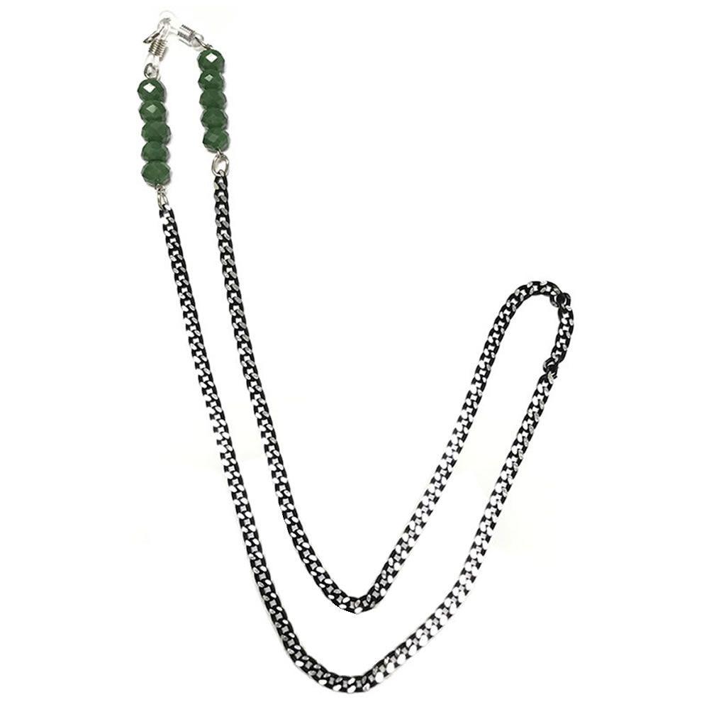 Corrente Salva Óculos Metal Pedra Verde