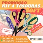 Kit com 4 Tesouras Soft