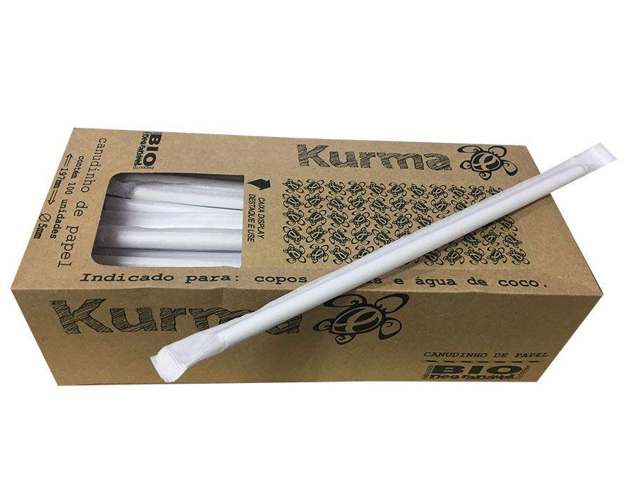Canudo de Papel Biodegradável - Caixa c/ 100 unidades - Branco