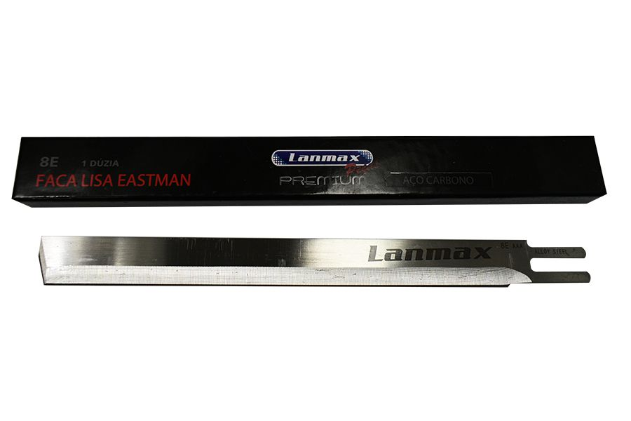 "Faca Modelo 8"" Lisa Aço Carbono - Lanmax Premium - Dúzia"