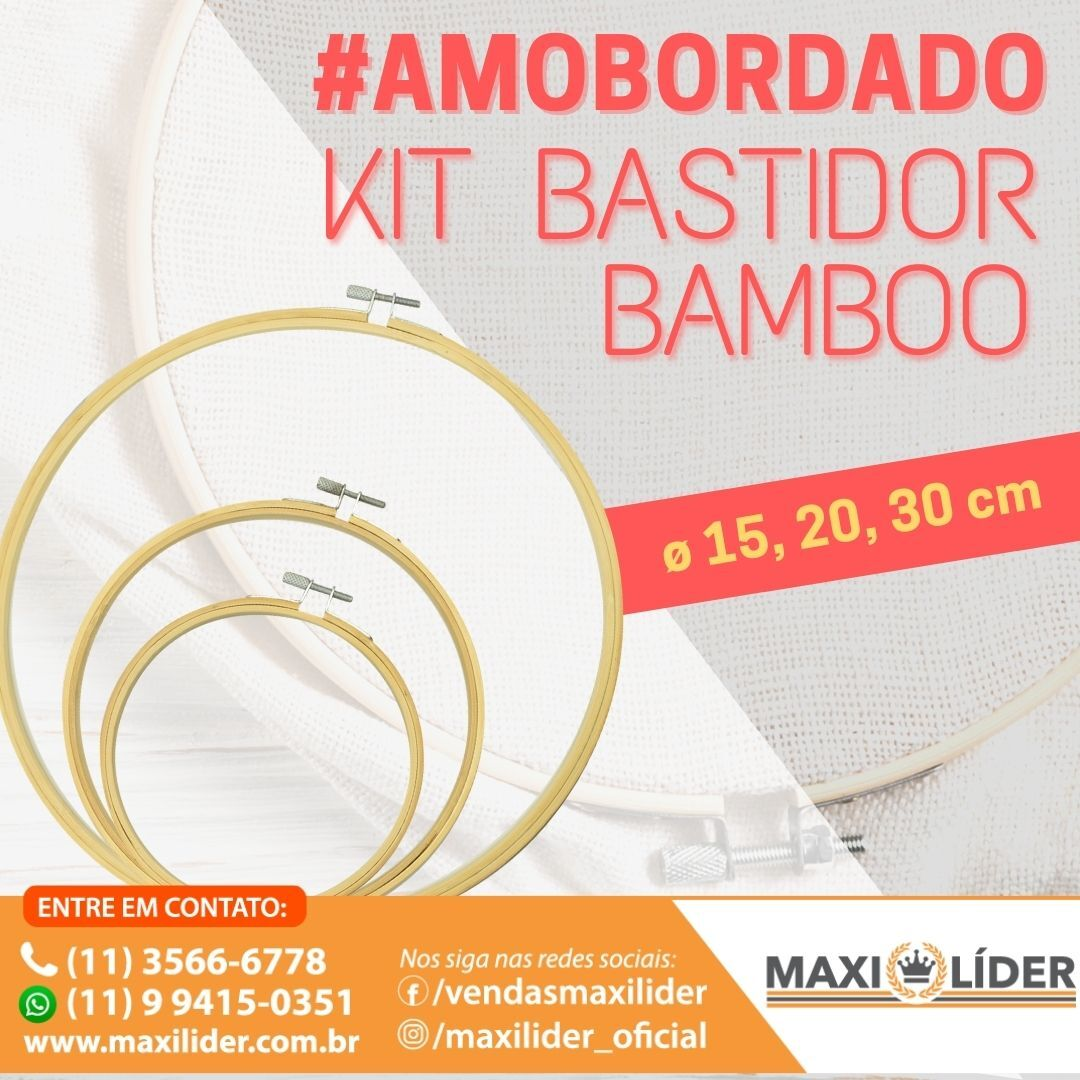 Kit Bastidor Bamboo - 15cm, 20cm, 30cm