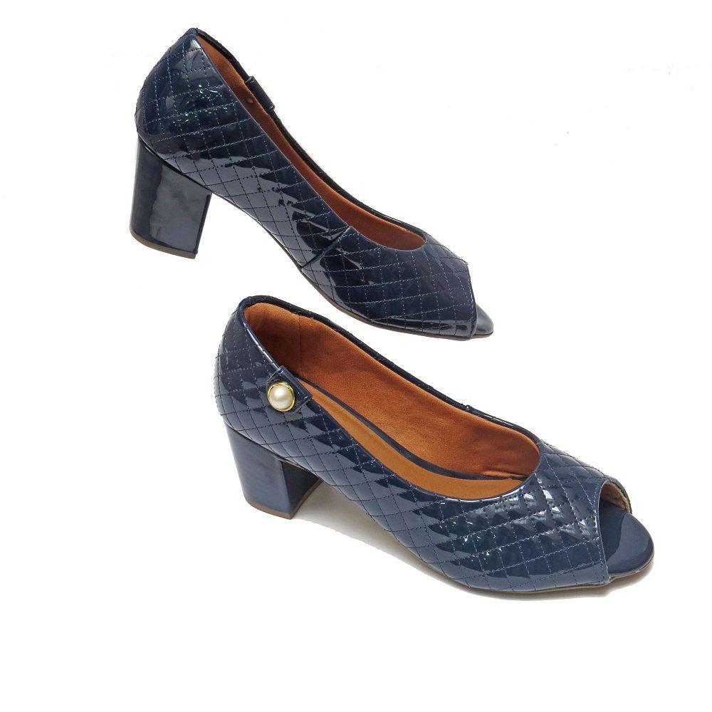 Peep Toe Grace - Azul Marinho