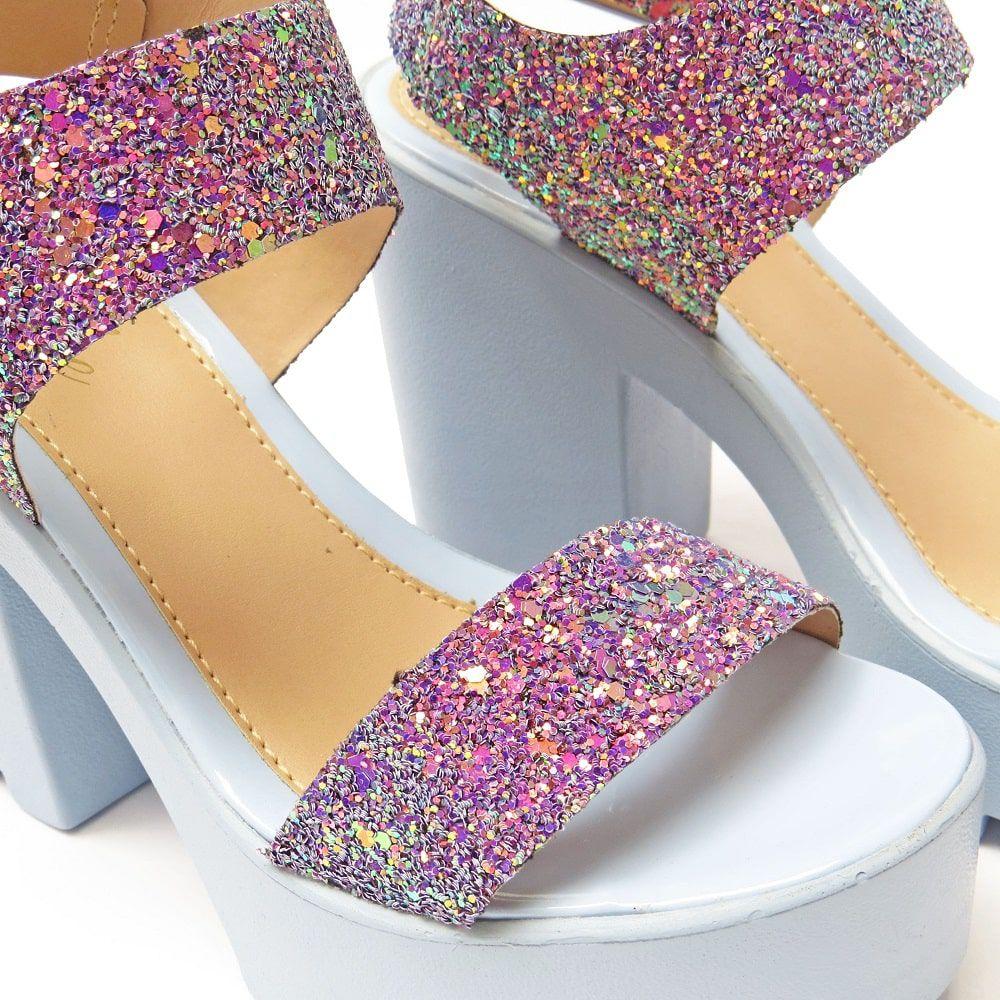 Sandália Azul com glitter