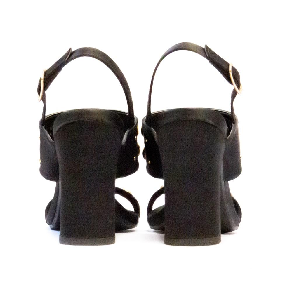 Sandália com Pérolas - Preta
