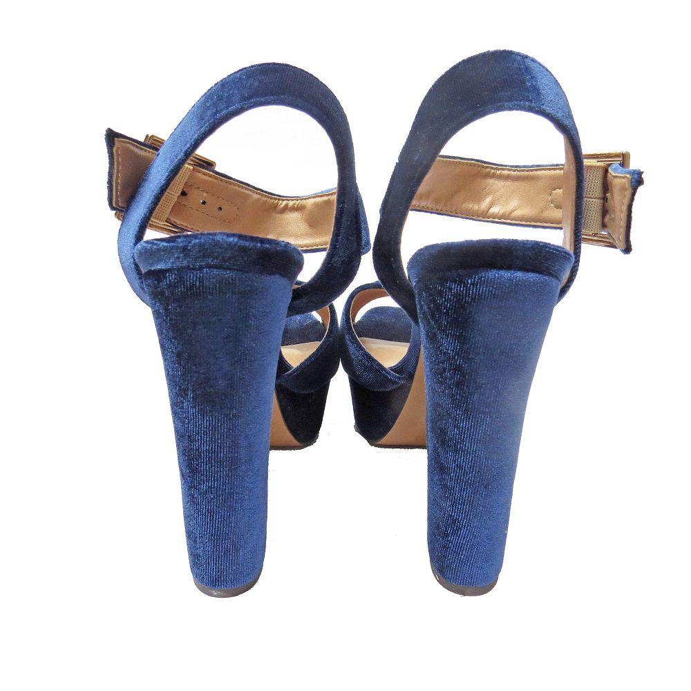 Sandália de Veludo - Azul Marinho