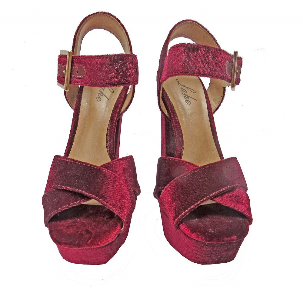 Sandália de Veludo - Marsala