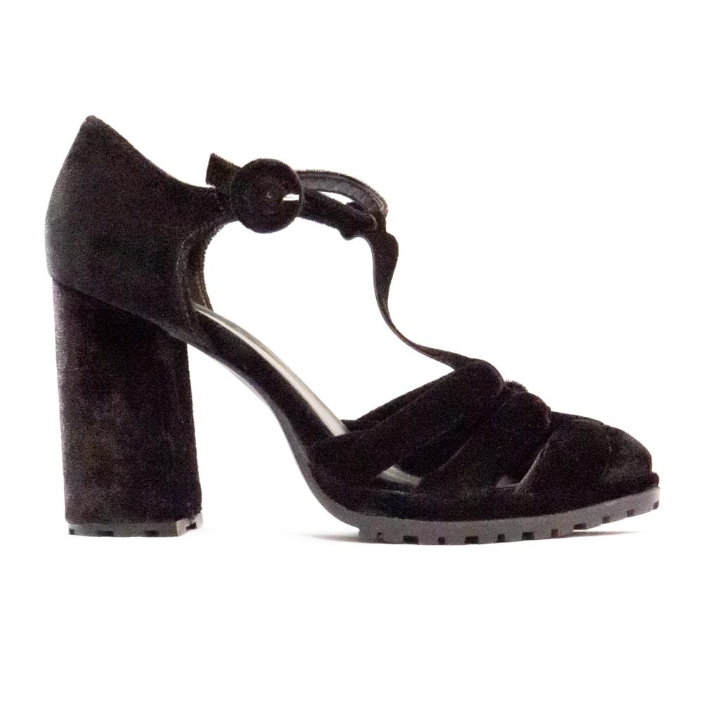 Sandália de Veludo - Preta