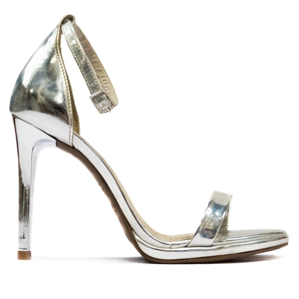 Sandália salto alto - Prata