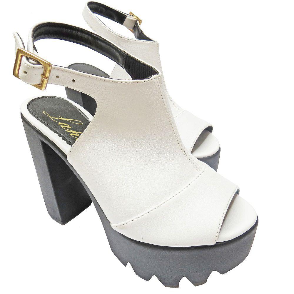 Sandália salto Grosso -Branca