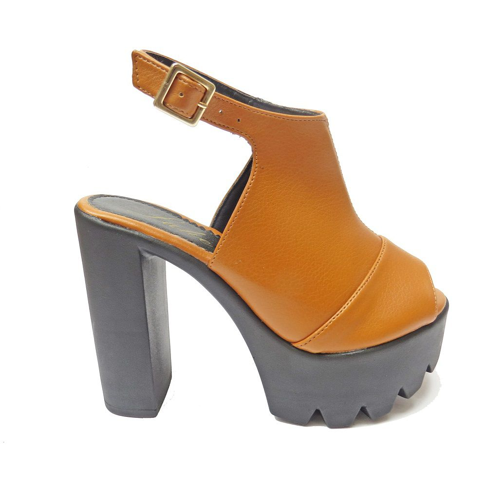Sandália salto Grosso -Caramelo