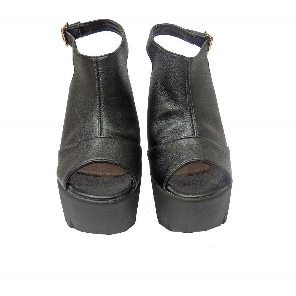 Sandália salto Grosso -Preta