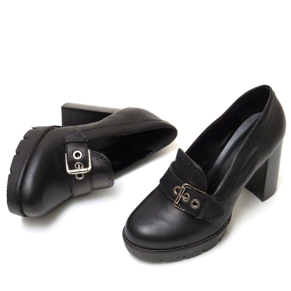 Sapato kiltie pump solado tratorado - Preto